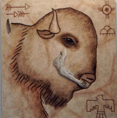 Buffalo of Abundance (c)Lauren Curtis  original acrylic painting with found buffalo bone.