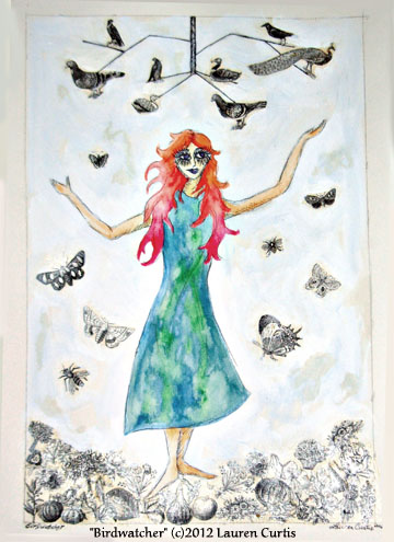 Birdwatcher (c)2012 Lauren Curtis  Watercolor & collage, prints available