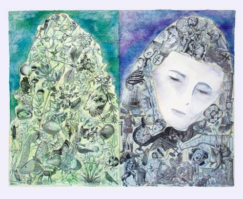 Mothers Lament (c)Lauren Curtis Watercolor and collage