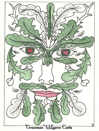 Goddess of Gratitude & Greenman (c)Lauren Curtis