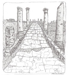 Ruins, pen & ink; client: London playwright, (c)May2014