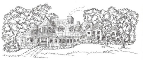 Farmhouse, pen & ink; client: Hawaiian author, (c)March 2014