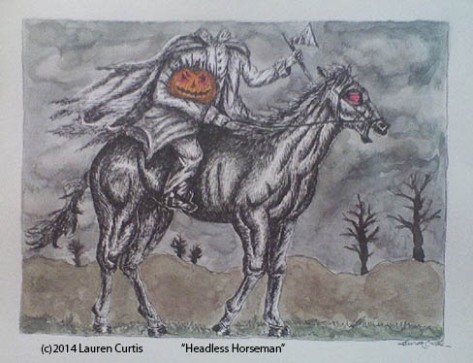 Headless Horseman, pen & ink w/ watercolor (c)July2014