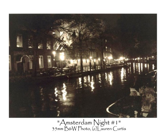 """Amsterdam Night #1"", 35mm B&W photo, (c)Lauren Curtis"