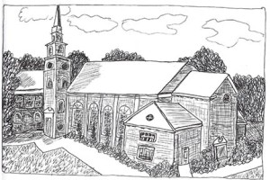 Church Exterior (c)Sept2014 pen & ink by Lauren Curtis